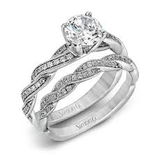 gold wedding set 18k white gold twisted shank engagement ring set delicate collection