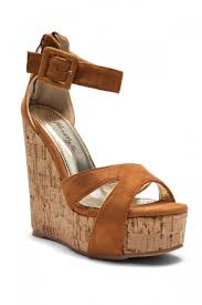 cognac manmade brenee 6 inch cork wedge sandals with bold ankle buckle