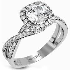 twisted halo engagement ring simon g cut twist halo split shank engagement ring
