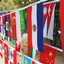 international 24 different countries string flags celebration