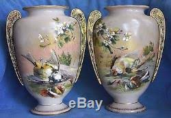 Bohemian Vase Antique Victorian Harrach Bohemian Moser Bird Enamel Dogwood Art