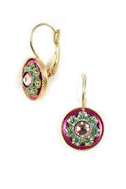 fabulous earrings fabulous pink green mosiac disc swarovski earrings clara beau jewelry