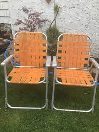 Folding Patio Chairs With Arms Vintage Folding Lawn Chairs Aluminum Webbing Patio Webbed Orange