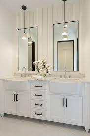 bathroom shiplap wall behind mirrors bathroom with shiplap wall