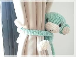Lemon Nursery Curtains by Monkey Curtain Tie Back Cotton Yarn Crochet Monkey