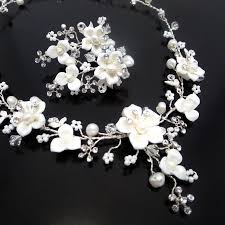 flower necklace wedding images Bridal flower necklace and earrings wedding rhinestone and pearl jpg