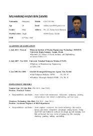 Resume Sle Doc Malaysia resume sle doc malaysia resume hilmi 2015 1 638 jobsxs