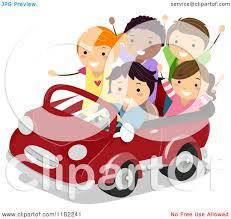 cartoon convertible car cartoon of happy diverse children in a convertible car royalty