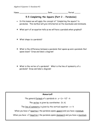 5 1 graphing quadratic functions notes