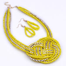 fashion necklace earring sets images Fashion gold yellow jewelry knit knot seed resin beads bib jpg