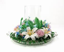 Beaded Home Decor Lily Beaded Flower Candle Ring French Beaded Flowers Wire