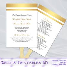 paddle fan program template gold wedding fan program template diy gold foil striped ceremony