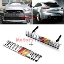 mitsubishi ralliart stickers metal ralliart front grill grilles plus rear emblem badge sticker