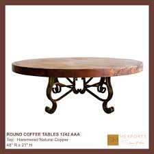 copper top coffee table round coffee table iron base chocolate finish copper natural
