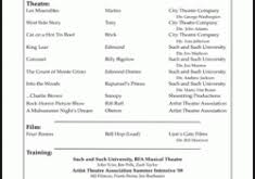 Free Acting Resume Template Download Skillful Design Theatre Resume Template 3 Free Acting Resume