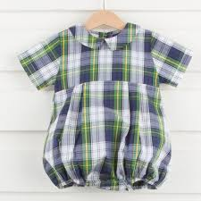 collared scottish plaid boy bubble smocked auctions