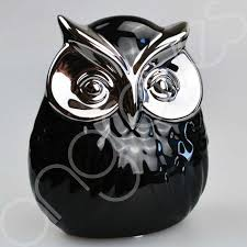 set of 2 large small black silver owl ornaments
