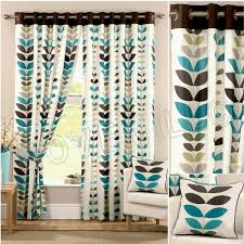 Teal Patterned Curtains Teal Curtains Zest Modern Retro Solid Printed Leaf Pattern
