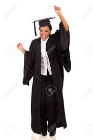 college cap and gown happy college student in graduation gown stock