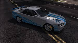 nissan skyline r34 paul walker movie u0026 tv skins tdu2 car mods and texmod tutorial test drive