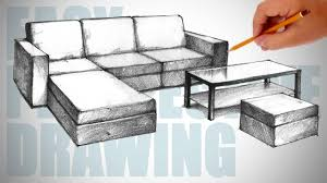 how to draw furniture sofa easy perspective drawing 23 youtube