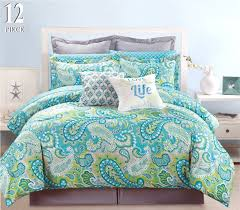 Aqua Bedspread Amazon Com 12 Piece Modern Bedding Turquoise Blue Grey And Green