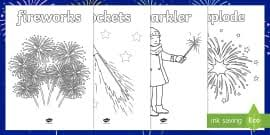 fireworks bonfire night colouring sheets bonfire night