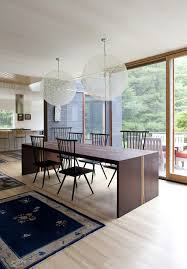 bathroom dining room with wood table and maple wood floor using