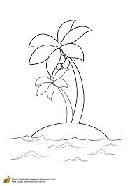 Coloriage deux cocotiers sur une île perdue