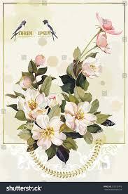 Vintage Wedding Invitation Cards Vintage Wedding Invitation Card White Jasmine Stock Vector