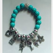 turquoise bead bracelet images Turquoise beaded charmed bracelet women 7 5in from 15 off bundles jpg