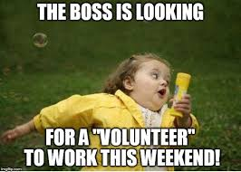 I Work Weekends Meme - chubby bubbles girl meme the boss is looking for a volunteer
