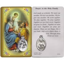 holy family prayer card with medal cm 8 5 x 5 3 1 4 x 2