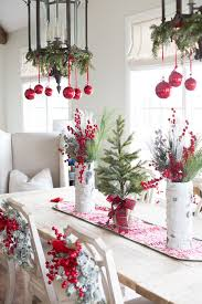 elegant red and silver christmas table decorations with christmas