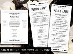 wedding program template diy editable black wedding program