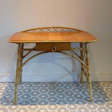 bureau en rotin petit bureau et tabouret vintage en rotin miel 1950 design market