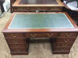 Office Desk Leather Top Antique Style Leather Top Captains Writing Office Desk Office