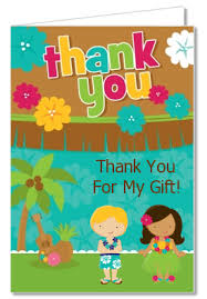 birthday party thank you cards luau friends thank you notes