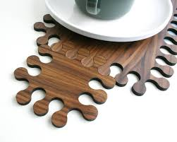 jigsaw wood jigsaw wooden placemat and coaster set by wood paper scissors