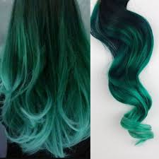 mermaid hair extensions green hair ombre dip dyed hair clip in hair extensions