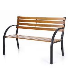 Painted Wooden Patio Furniture Ikayaa Outdoor Garden Park Bench Patio Furniture Cast Iron Leg