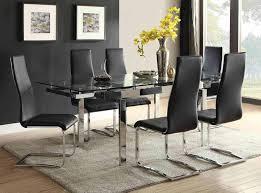 coaster wexford rectangular expandable glass dining set chrome