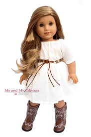 white dress belt and brown eagle cowgirl boots for 18 inch