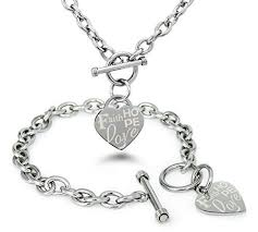 heart tag charm bracelet images Stainless steel faith love hope engraved heart tag charm bracelet jpg