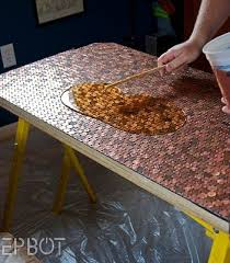 Homemade Bar Top Penny Desk Epoxy Desks And Penny Table