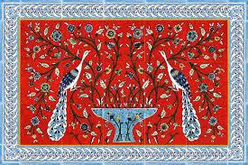 Red Tile Backsplash - red tile backsplash red kitchen tile with elegant peacocks