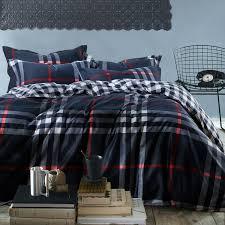 Mens Bed Set Wholesale Mens Plaid Stripe Reactive Print Bedding Set Navy 100