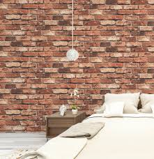 Wallpapers For Homes by Haokhome 69090 Vinyl Retro Vintage Faux Brick Wallpaper Red Rust