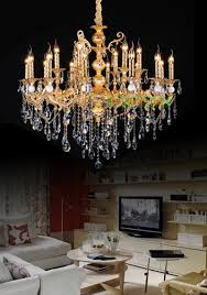 Kitchen Island Chandelier Lighting Gold Plated Zinc Alloy Crystal Chandelier Antique Gold Chandelier