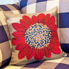 daisy pillow hand painted home decor mollbdesigns